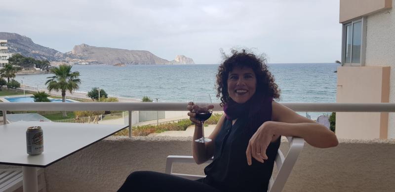Jules drinking wine